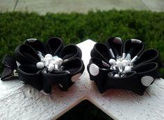Black & White polka dot Kanzashi set by SewGurlyBowtique on Etsy, $8.00