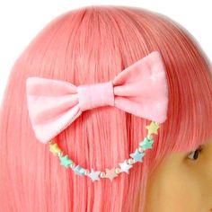 Kawaii Glitter Pink Hair Bow Clip Barrette Lolita Fairy Kei Pastel Stars Pearl Hair Accessory on Etsy, $8.00