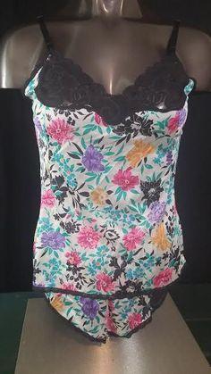 Vanity Fair vintage camisole cami tap panties set sissy lingerie floral nylon 36 #VanityFair