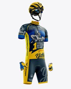 Full Men's Cycling Kit Mockup – Front 3/4 View. Preview (Close-Up)