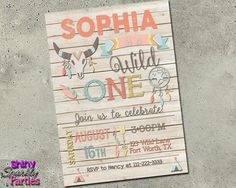 Wild One Birthday Invitation - Girl - Printable (Digital File Only) Boho Birthday Invitation - girl first birthday - bull horn rustic dreamcatcher feathers teepee