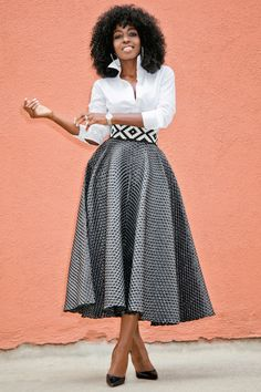 Button Down + Textured Tea Length Skirt (Style Pantry) African Attire, African Dress, Mode Outfits, Skirt Outfits, Mode Apostolic, Apostolic Fashion, Look Fashion, Womens Fashion, Fashion Design
