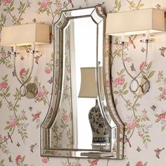 """Beaded Beveled Mirror A charming shape with strips of Hand Beveled Mirror surrounded by a beaded inner and outer edge create the frame for this beveled mirror. Perfect for a hallway or a small bath or powder room so that you have room for sconces to each side. Top and middle measurements are 12"""" and 17"""" wide. Finished in Heavily Antiqued Silver Champagne. (40.25""""Hx26.25""""Wx2""""D)"""