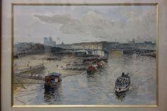 Franck BOGGS (1855-1926) Bateaux lavoirs sur la Seine / Les bains sur la Seine.Deux dessins à la mine de plomb, fusain et aquarelle sur papier, l'un signé en bas à gauche.25 x 36 cm. et 26,5 x 37 cm.… - Drouot Estimations - 19/01/2016