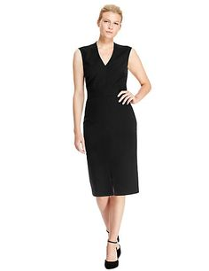 V-Neck Cap Sleeve Shift Dress | M&S