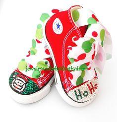 Baby Bling HO HO SANTA Swarovski Crystal Chuck Taylor Red HiTop Sneakers Shoes Toddler Infant $89.99 #etsy #converse #xmas #christmas #bling #girls #swarovski #crystal #santa