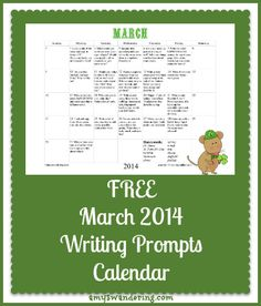 free march writing prompts calendar