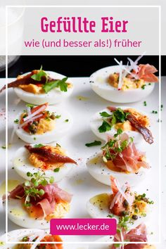 Stuffed eggs - recipes for brunch and buffet DELICIOUS - Haven& you eaten stuffed eggs in ages! Gourmet Pizza Recipes, Vegetarian Pizza Recipe, Deep Dish Pizza Recipe, White Pizza Recipes, Seafood Recipes, Appetizer Recipes, Appetizers, Tapas, Homemade Pizza Rolls