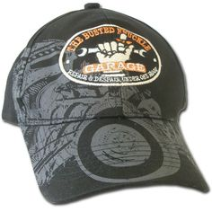 "Busted Knuckle Garage Rat Rod ""No Scar, No Story"" Ball Cap  The new Rat Rod ""No Scar, No Story"" ball cap from the Greasemonkeys at The Busted Knuckle Garage. Cool screened on ghost of a rat rod on front bill and crown of hat. Embroidered Busted Knuckle Garage logo on front with embroidered ""No Scar, No Story"" on back. No truer words ever spoken for anyone who's picked up a wrench."