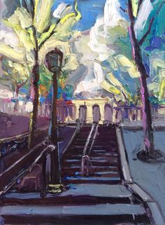 Richard Claremont #Art - Rue Foyatier Stairway - #Cityscape #Oil #Paintings for Sale