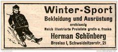 Original-Werbung/ Anzeige 1907 - WINTER-SPORT / HERMAN SCHÖNBERG BRESLAU - Ca. 80 X 35 Mm - Werbung