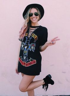 Lace Up Guns N Roses Band T-Shirt Dress