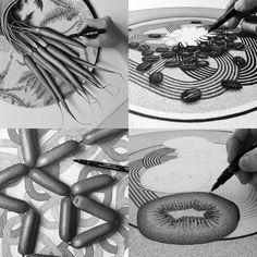 Artist CJ Hendry Draws 50 Photorealistic Foods in 50 Days  http://www.thisiscolossal.com/2015/04/artist-cj-hendry-draws-50-photorealistic-foods-in-50-days/