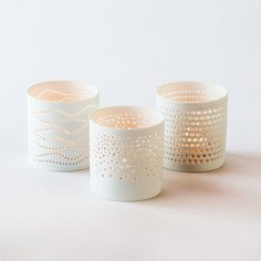 Porcelain Votives - Set of 3 from dotandbo.com. IDEA - these designs on glass. Color where there's light or reversed so it works like these. ~cww