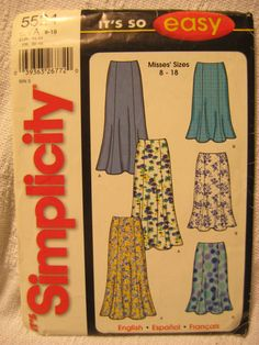 Womens Clothing Pattern EASY Gored Skirt SIMPLICITY 5524 Sizes 8-18 UNCUT