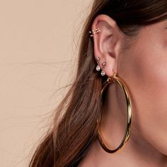 """The XL version of our best-selling Amalfi Hoops Earring posts are made with surgical steel, very hypo-allergenic Hoops are Approx. 3"""" Tall These hoops are hollow so they are super lightweight and wearable Made from Brass Plated in Gold Available in Silver and Rose Gold too! As seen on Beyoncé and Emily Ratajkowski Gold Bridal Earrings, Ruby Earrings, Rhinestone Earrings, Bridesmaid Earrings, Turquoise Earrings, Vintage Earrings, Clip On Earrings, Earrings Handmade, Silver Earrings"""