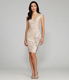 Potential bday dress 2 Maggy London Metallic JewelShoulder Dress #Dillards #birthdaydress