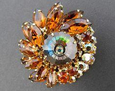 Juliana D & E Jewelry - Antique Brooches Amber Watermelon Rivoli Stone Weiss Hobe High End Designer Jewelry