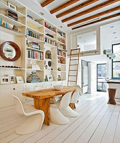 cool bookshelf and wooden table