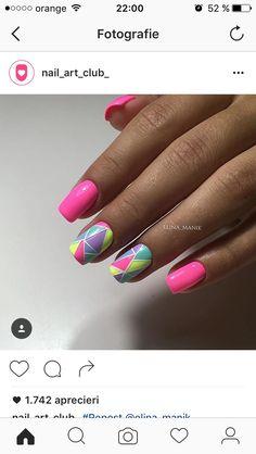 @pelikh_ideas nails Stylish Nails, Trendy Nails, Spring Nails, Summer Nails, Nail Manicure, Gel Nails, Vacation Nails, Geometric Nail, Easter Nails