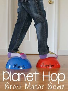 Kids learn the order of the planets in our solar system as they move and hop in this gross motor game!