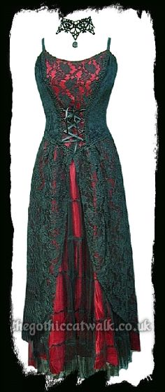Long Gothic Dress - Black Velvet, Lace & Red Satin - Prom I love it so much!