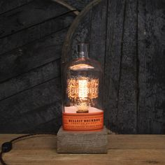 Handmade Recycled Bulleit Bourbon Bottle Lamp - Features Reclaimed Wood Base Edison Bulb Twisted Cloth Wire In line Switch And Plug