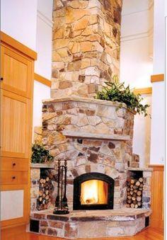 tall, rock fireplace