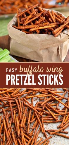 The perfect appetizers that can feed a crowd! These easy Buffalo Wing Pretzel Sticks are perfect for entertaining, game days, and parties. Save this pin for later! Yummy Appetizers, Appetizer Recipes, Snack Recipes, Yummy Recipes, Recipies, Vegan Snacks, Healthy Snacks, Peach Pork Chops, Pretzel Sticks