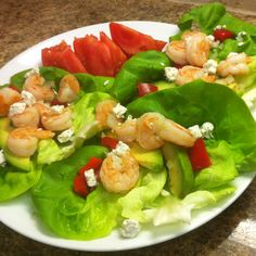 Shrimp, Avocado and Goat cheese Butter Lettuce Wraps