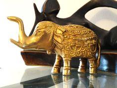 Elephant Brass Ornament. Indian brass sculpture. Decorative statue. Ethnic brass art. Home decor idea. Brass mantleshelf piece. Artikrti.