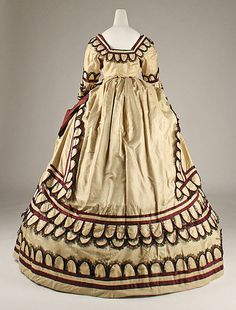 Dress Date: 1868 Culture: British Medium: silk Dimensions: [no dimensions available] Credit Line: Gift of Miss Irene Lewisohn, 1937 Accession Number: 1800s Fashion, 19th Century Fashion, Victorian Fashion, Vintage Fashion, Victorian Era, Antique Clothing, Historical Clothing, Corsage, Retro Outfits