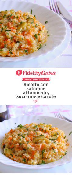 Risotto con salmone affumicato, zucchine e carote