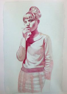 THOUGHT (Summer Smoking) (2013) Watercolor and pencil on paper | 17.5 x 11 inches. by Mercedes Helnwein