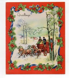 Vintage Christmas Greeting Card Horses Carriage Snowy Day   eBay