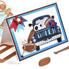 Masculine Birthday Cards, Masculine Cards, Sports Theme Birthday, Kids Cards, Men's Cards, Spellbinders Cards, Custom Canvas, Card Kit, More Fun