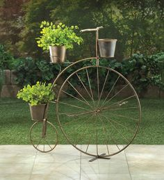 Bicycle Plant Stand With 3 Flower Pots
