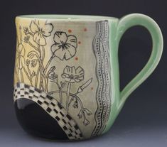 Etched Mug, California Poppies with Checks - Patricia Griffin