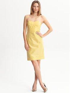 BR Monogram silk Lela strapless dress | Banana Republic