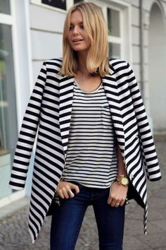Summer outfits womens fashion clothes style apparel clothing closet ideas stripes on stripes. Look Fashion, Winter Fashion, Fashion Outfits, Womens Fashion, Fashion Clothes, Nail Fashion, Trendy Fashion, Looks Style, Style Me