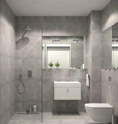 Kleines Bad einrichten graue-wand-bodenfliesen-ebenerdige-dusche-glas-trennwand-kleiner-waschtisch