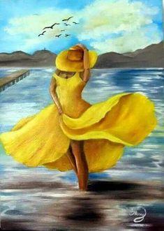 Divagar entre PINTURAS e outras ARTES: Em Amarelo - Vestidos da cor da alegria Oil Painting Flowers, Painting & Drawing, Dress Drawing, Poetry Painting, Drawing Drawing, Peacock Canvas, Fine Art, African Art, Painting Inspiration