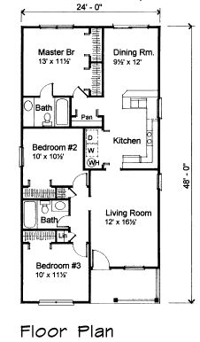 First Floor Plan of Bungalow House Plan 72710
