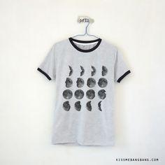 Moonphase Ringer Tee $13.99 ; Moon Calender Shirt ; Graphic  ; #Tumblr ;  #Hipster Teen Fashion ; Shop More Tumblr Graphic Tees at http://kissmebangbang.com/product-category/tumblr-inspired/