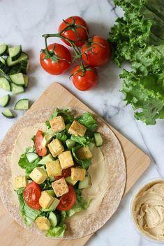 Crispy Tofu Hummus Wrap is the perfect healthy lunch idea! Vegan dish that is filling creamy and crispy! Wrap Recipes, Lunch Recipes, Gourmet Recipes, Drink Recipes, Summer Recipes, Vegan Keto, Vegan Food, Vegan Nutrition, Gluten Free Recipes