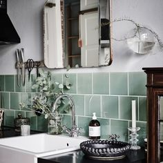 Mint and monochrome: Using mint green as an accent will make any room of your home sing. Why not try revamping your kitchen or bathroom space with mint tiles and pair with monochrome accessories and furniture.