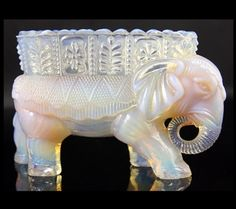Rarest Burtles & Tate Pink opalescent glass Elephant Posy Vase C.1886