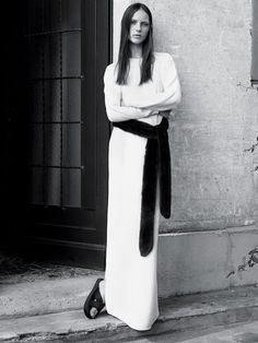 Long White Dress - modern simplicity; chic minimalist fashion // Ph. Karim Sadli