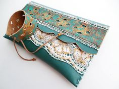 Turquoise leather clutch Traditional bag Etno by spiculdegrau