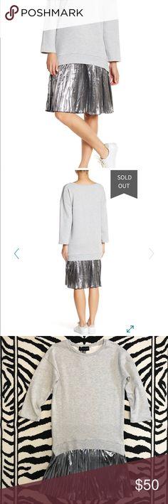 Metallic Sweatshirt Dress Metallic Sweatshirt Twofer Dress. A boxy pullover sweatshirt attached to an accordion pleated metallic skirt. know.one.cares Dresses Midi
